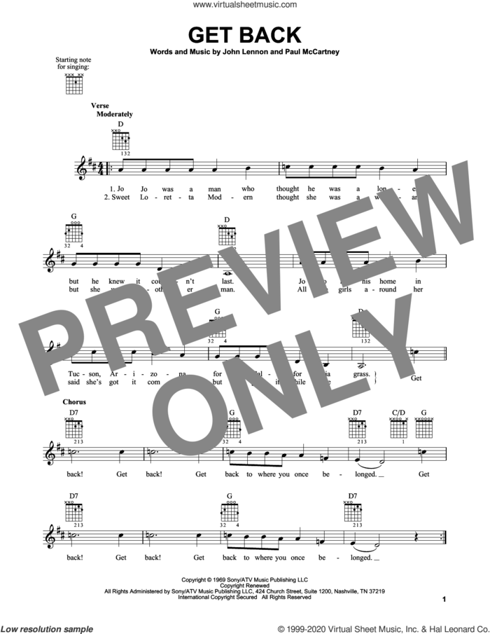 Get Back sheet music for guitar solo (chords) by The Beatles, John Lennon and Paul McCartney, easy guitar (chords)