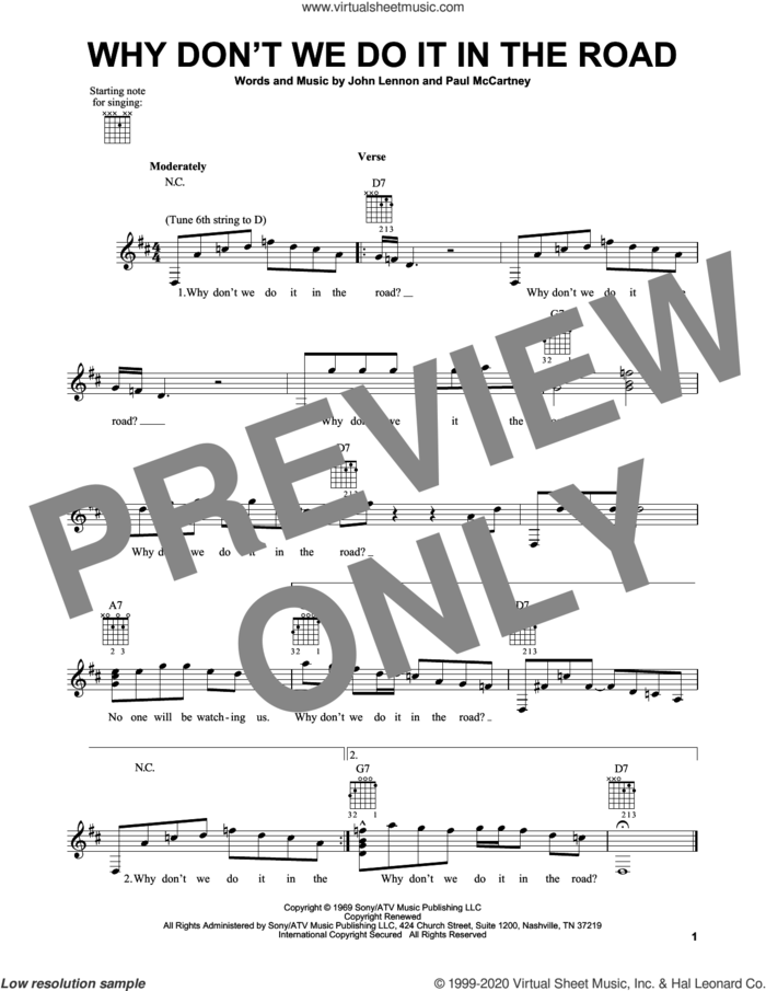 Why Don't We Do It In The Road sheet music for guitar solo (chords) by The Beatles, John Lennon and Paul McCartney, easy guitar (chords)