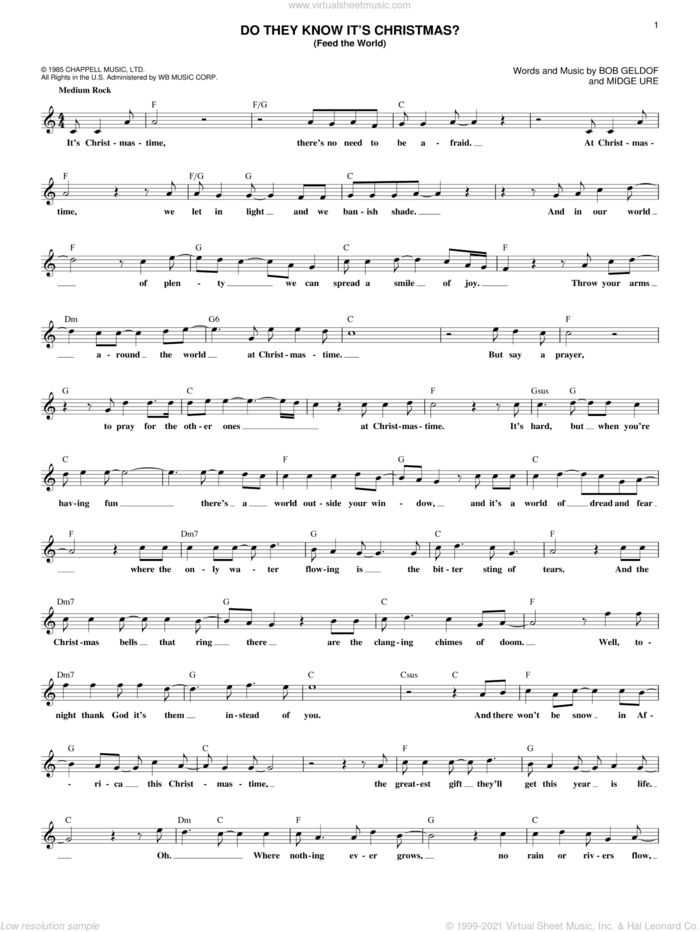 Do They Know It's Christmas? (Feed The World) sheet music for voice and other instruments (fake book) by Band Aid, Bob Geldof and Midge Ure, intermediate skill level