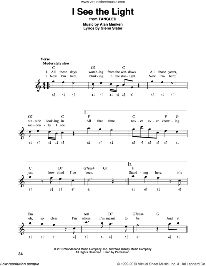 I See The Light (from Disney's Tangled) sheet music for harmonica solo by Alan Menken and Glenn Slater, intermediate skill level