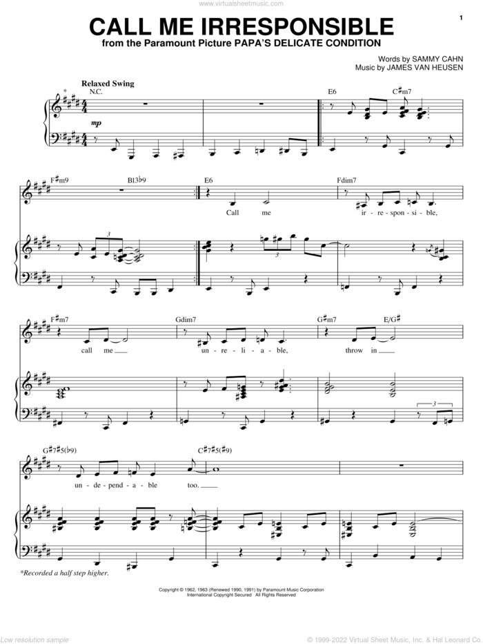 Call Me Irresponsible sheet music for voice and piano by Michael Buble, Dinah Washington, Frank Sinatra, Jack Jones, Jimmy van Heusen and Sammy Cahn, intermediate skill level