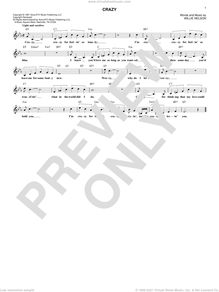 Crazy sheet music for voice and other instruments (fake book) by Willie Nelson and Patsy Cline, intermediate skill level