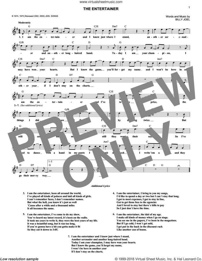 The Entertainer sheet music for voice and other instruments (fake book) by Billy Joel, intermediate skill level