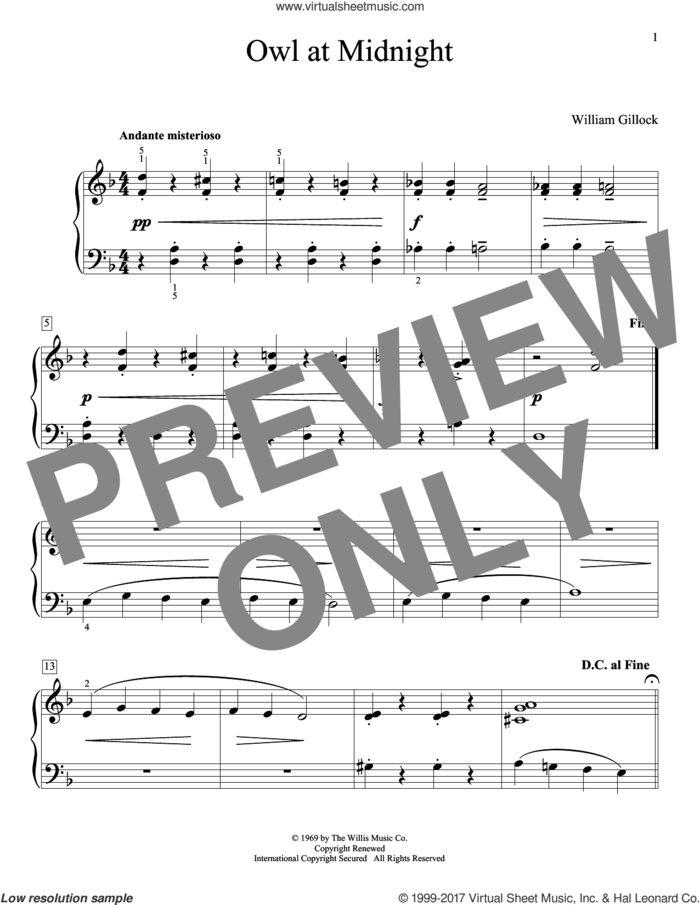 Owl At Midnight sheet music for piano solo (elementary) by William Gillock, beginner piano (elementary)