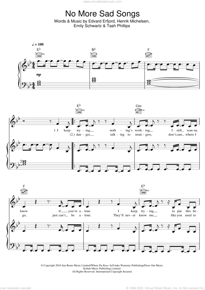 No More Sad Songs (featuring Machine Gun Kelly) sheet music for voice, piano or guitar by Little Mix, Machine Gun Kelly, Edvard Erfjord, Emily Schwartz, Henrik Michelsen and Tash Phillips, intermediate skill level