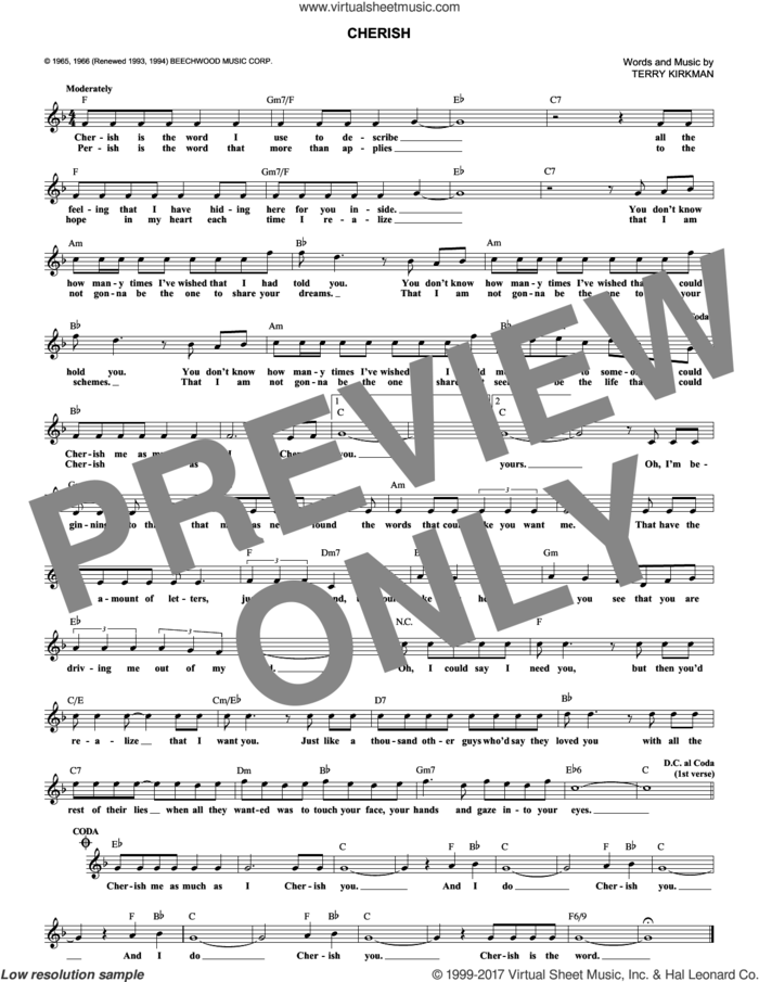 Cherish sheet music for voice and other instruments (fake book) by The Association, David Cassidy and Terry Kirkman, wedding score, intermediate skill level