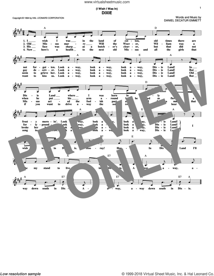 (I Wish I Was In) Dixie sheet music for voice and other instruments (fake book) by Daniel Decatur Emmett, intermediate skill level