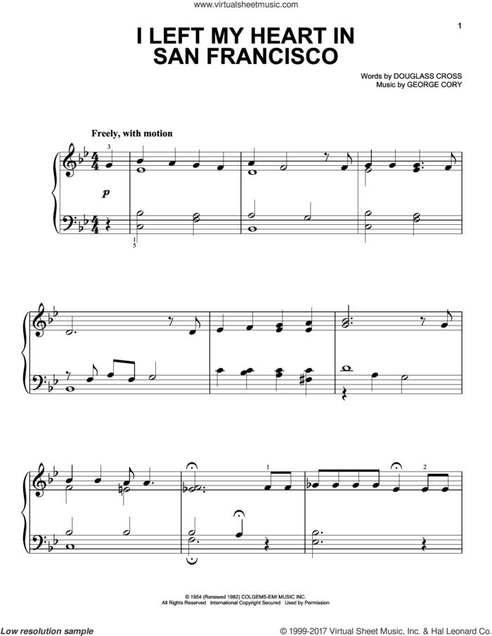 I Left My Heart In San Francisco (arr. Dan Coates) sheet music for piano solo by George Cory, Tony Bennett and Douglass Cross, easy skill level