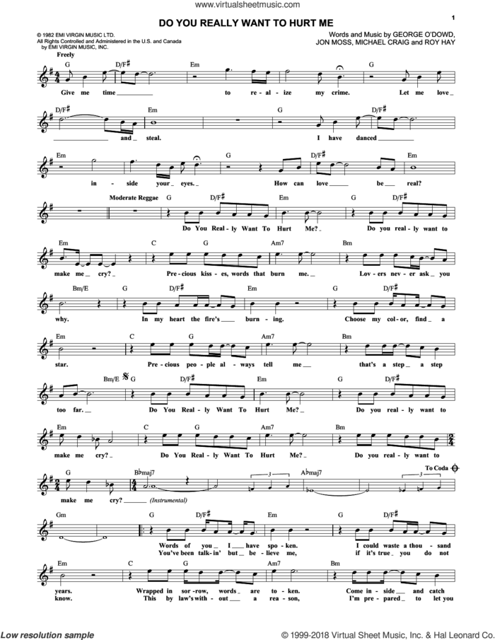 Do You Really Want To Hurt Me sheet music for voice and other instruments (fake book) by Culture Club, Jon Moss, Michael Craig and Roy Hay, intermediate skill level