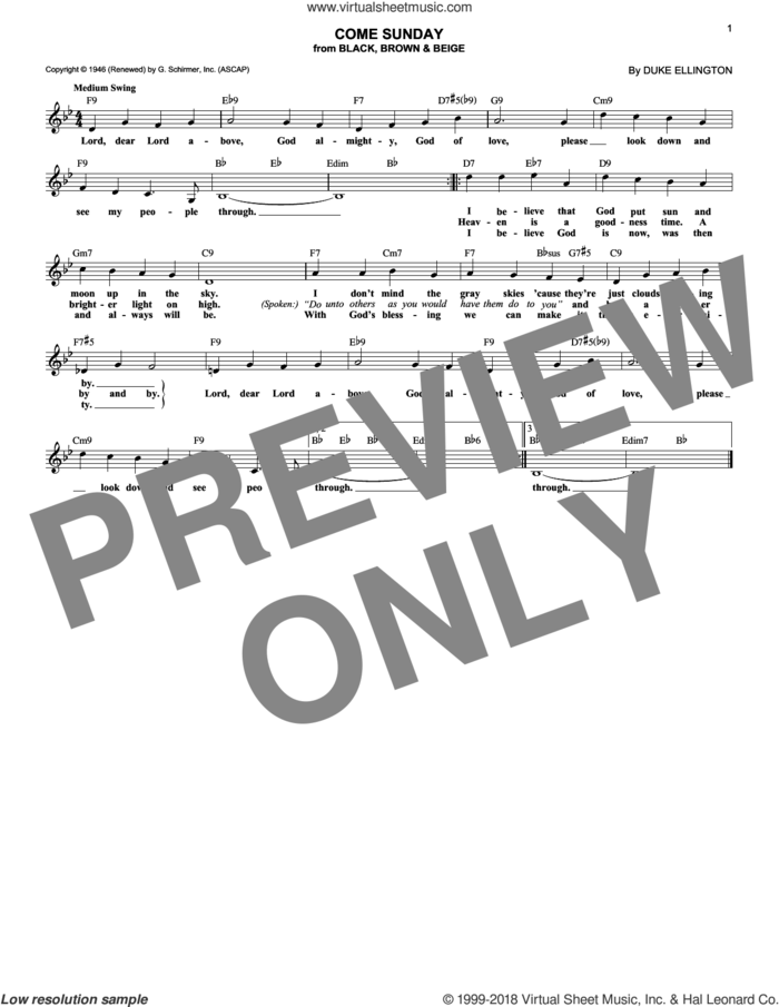 Come Sunday sheet music for voice and other instruments (fake book) by Duke Ellington, intermediate skill level
