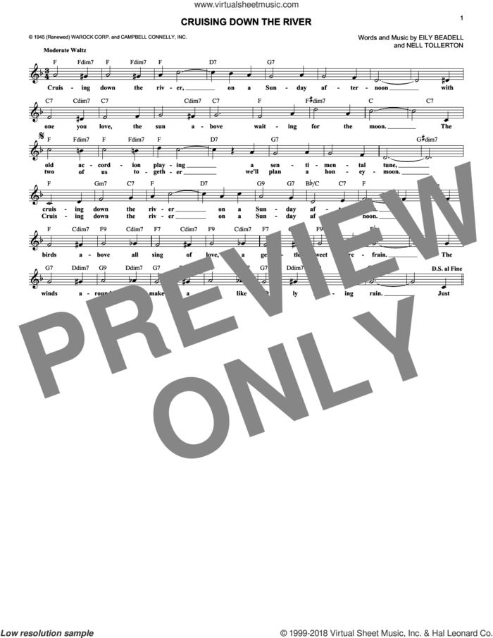Cruising Down The River sheet music for voice and other instruments (fake book) by Nell Tollerton and Eily Beadell, intermediate skill level