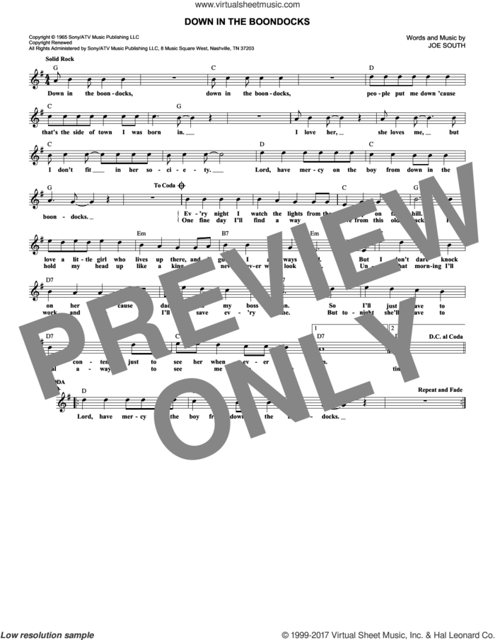Down In The Boondocks sheet music for voice and other instruments (fake book) by Billy Joe Royal and Joe South, intermediate skill level