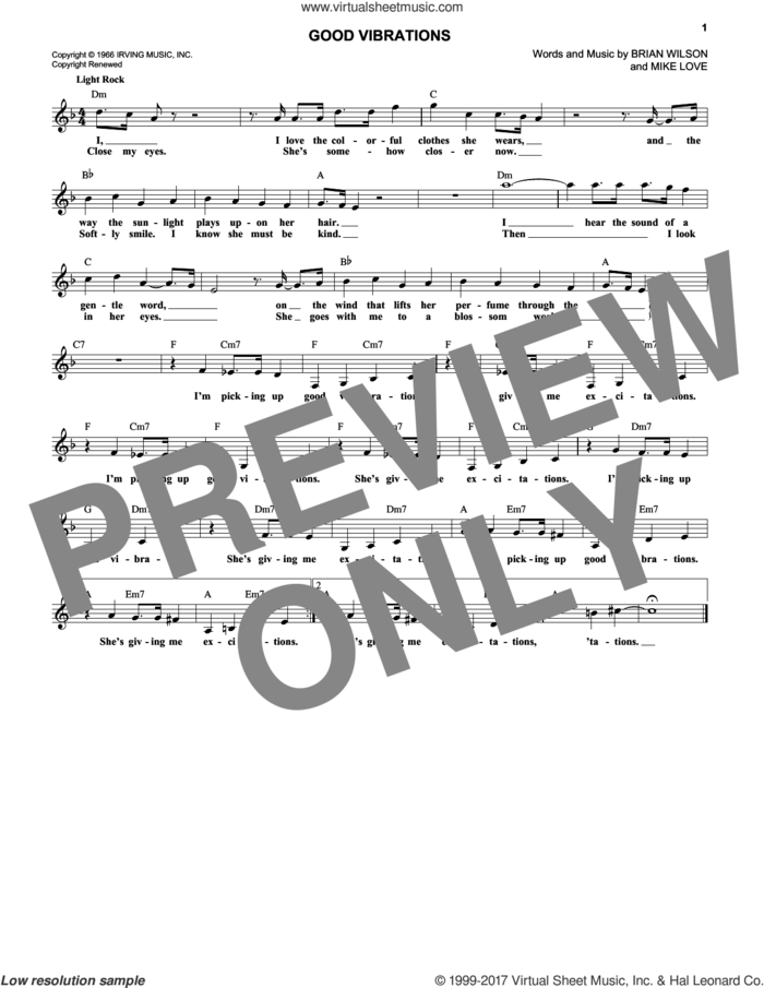 Good Vibrations sheet music for voice and other instruments (fake book) by The Beach Boys, Brian Wilson and Mike Love, intermediate skill level