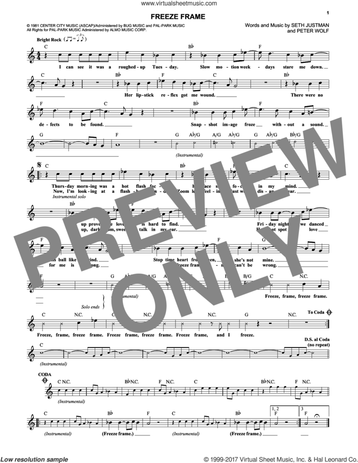 Freeze Frame sheet music for voice and other instruments (fake book) by J. Geils Band, Peter Wolf and Seth Justman, intermediate skill level