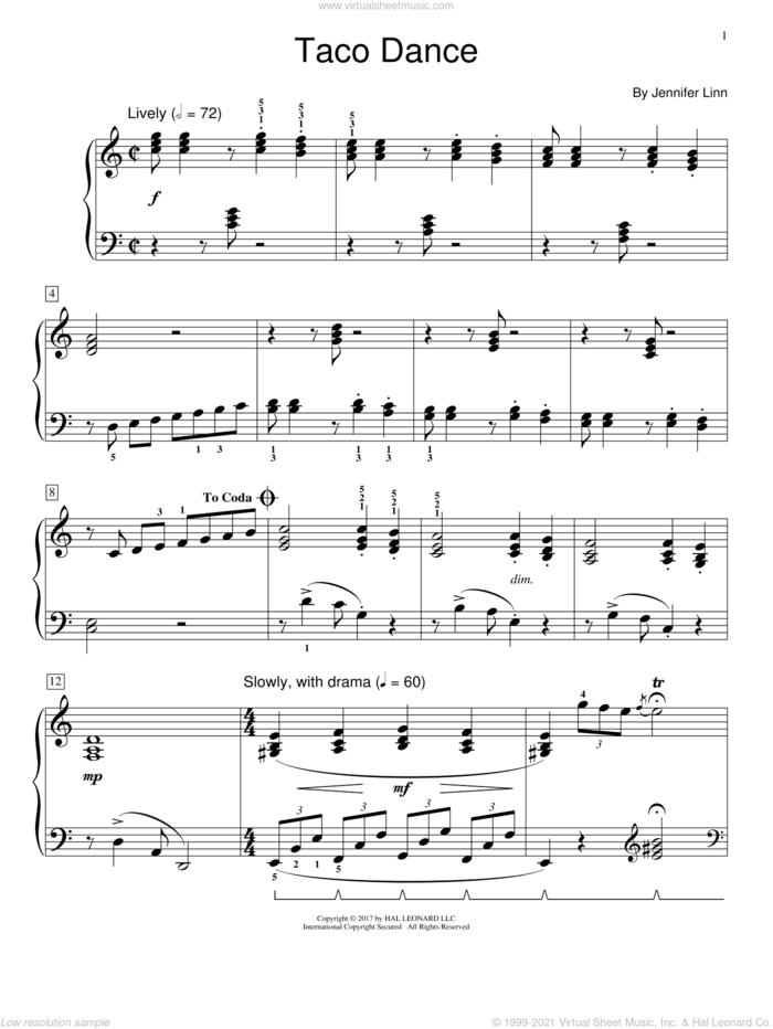 Taco Dance sheet music for piano solo (elementary) by Jennifer Linn, beginner piano (elementary)
