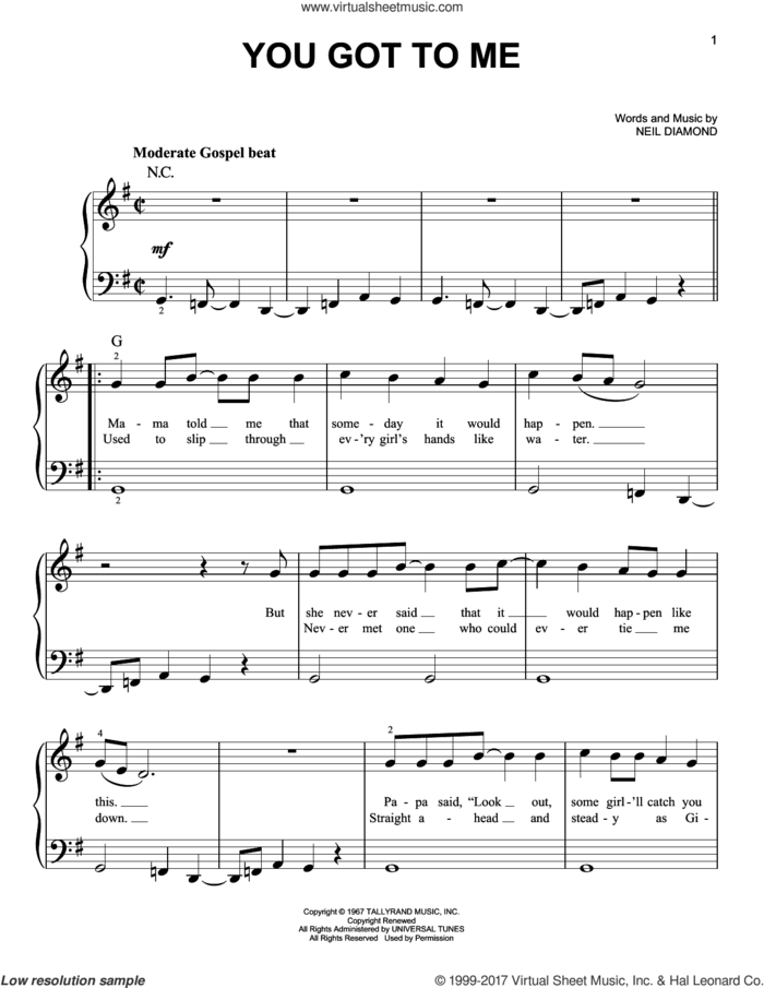 You Got To Me sheet music for piano solo by Neil Diamond, easy skill level