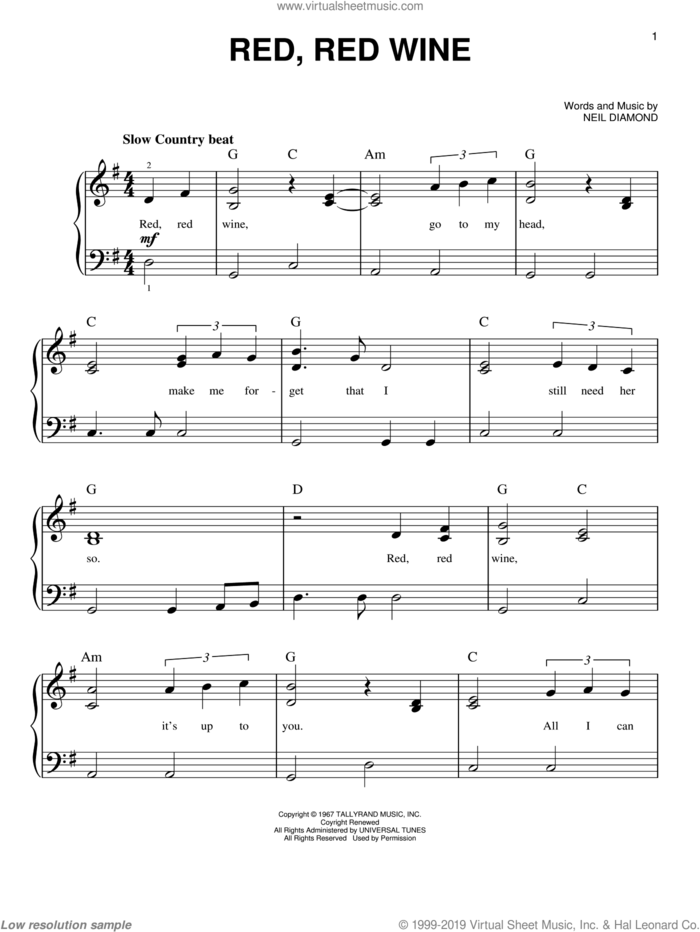 Red, Red Wine sheet music for piano solo by Neil Diamond, easy skill level