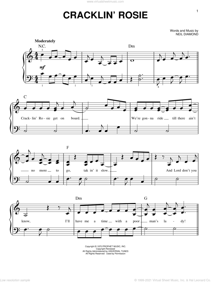 Cracklin' Rosie sheet music for piano solo by Neil Diamond, easy skill level