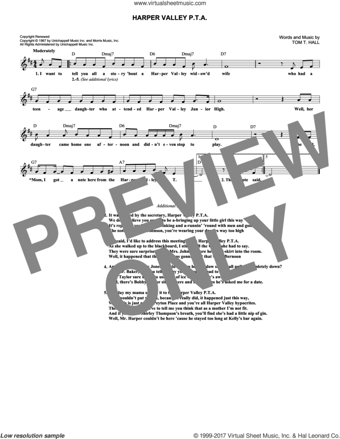 Harper Valley P.T.A. sheet music for voice and other instruments (fake book) by Tom T. Hall and Jeannie C. Riley, intermediate skill level