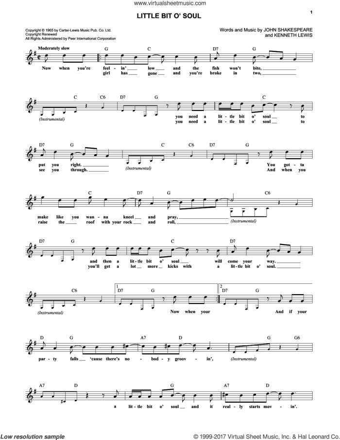 Little Bit O' Soul sheet music for voice and other instruments (fake book) by The Music Explosion, John Shakespeare and Kenneth St. Lewis, intermediate skill level