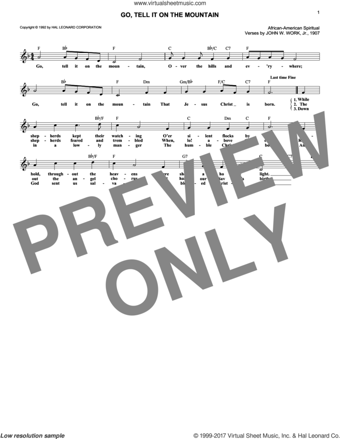 Go, Tell It On The Mountain sheet music for voice and other instruments (fake book) by John W. Work, Jr. and Miscellaneous, intermediate skill level