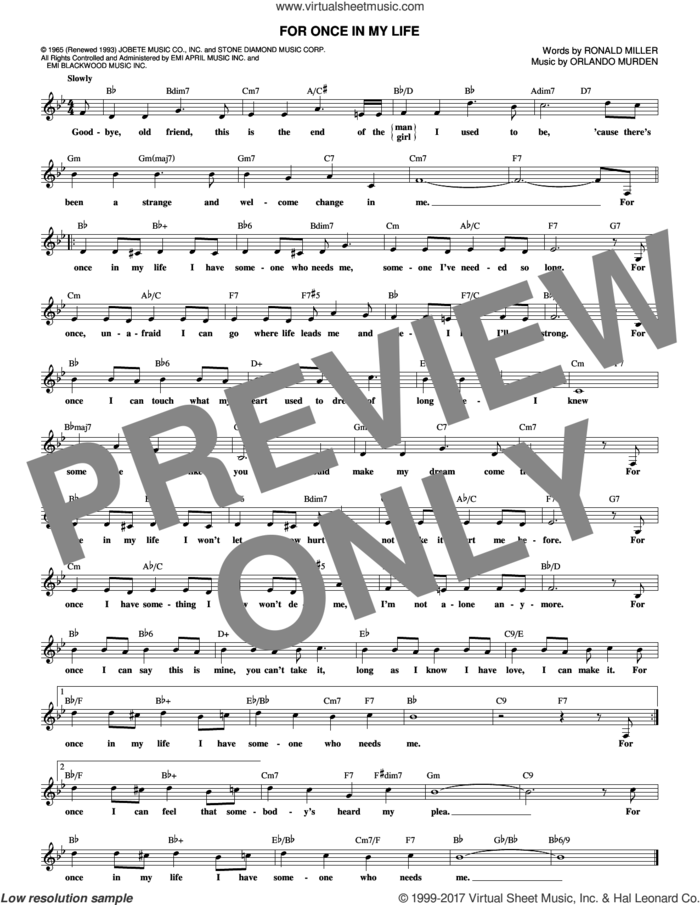 For Once In My Life sheet music for voice and other instruments (fake book) by Stevie Wonder, Orlando Murden and Ron Miller, intermediate skill level