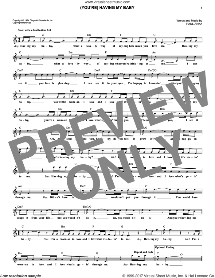 (You're) Having My Baby sheet music for voice and other instruments (fake book) by Paul Anka, intermediate skill level