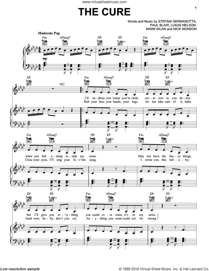 The Cure sheet music for voice, piano or guitar by Lady Gaga, Lukas Nelson, Mark Nilan, Nick Monson and Paul Blair, intermediate skill level