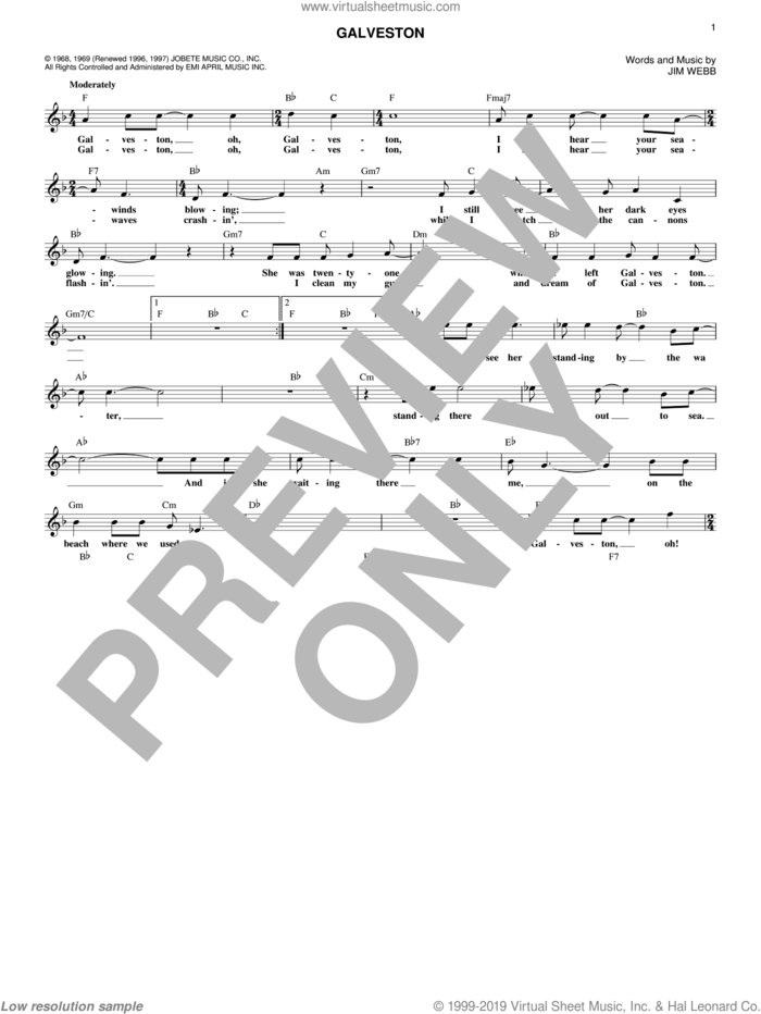 Galveston sheet music for voice and other instruments (fake book) by Glen Campbell and Jimmy Webb, intermediate skill level
