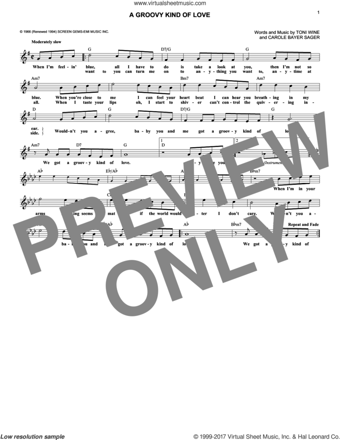 A Groovy Kind Of Love sheet music for voice and other instruments (fake book) by Phil Collins, The Mindbenders, Carole Bayer Sager and Toni Wine, intermediate skill level