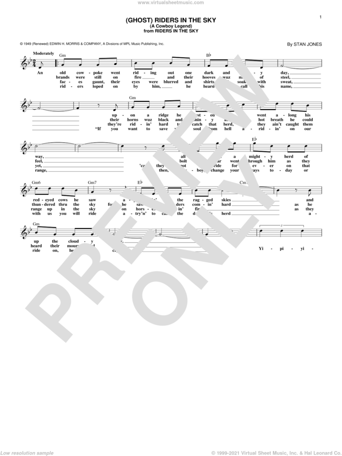 (Ghost) Riders In The Sky (A Cowboy Legend) sheet music for voice and other instruments (fake book) by Johnny Cash and Stan Jones, intermediate skill level
