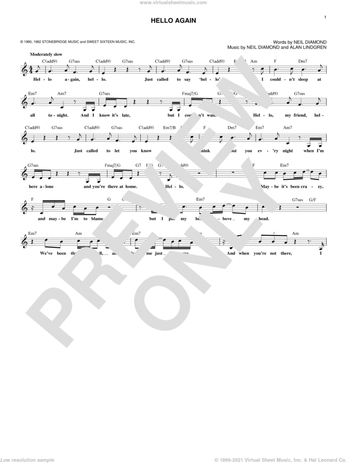 Hello Again sheet music for voice and other instruments (fake book) by Neil Diamond and Alan Lindgren, intermediate skill level