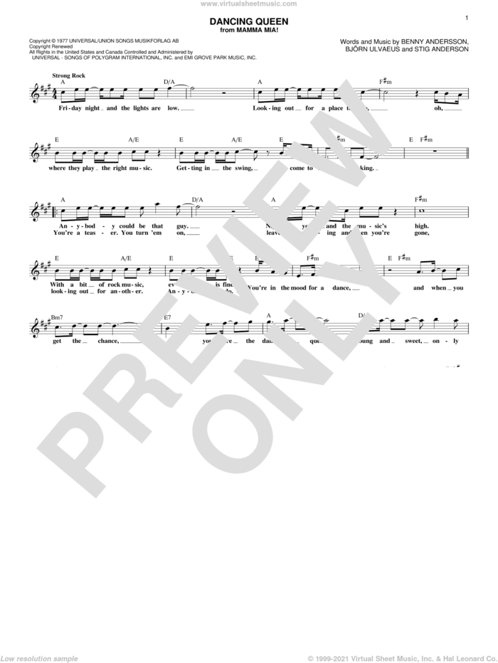 Dancing Queen sheet music for voice and other instruments (fake book) by ABBA, Benny Andersson, Bjorn Ulvaeus and Stig Anderson, intermediate skill level