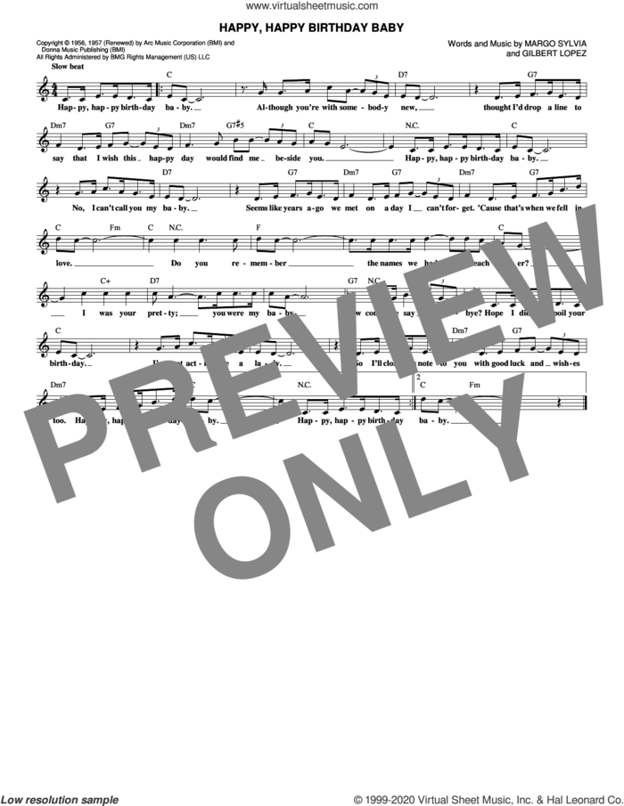 Happy, Happy Birthday Baby sheet music for voice and other instruments (fake book) by Ronnie Milsap, Gilbert Lopez and Margo Sylvia, intermediate skill level