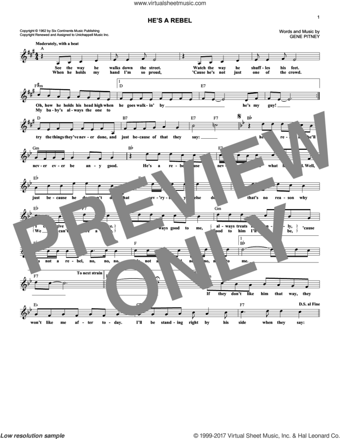 He's A Rebel sheet music for voice and other instruments (fake book) by The Crystals and Gene Pitney, intermediate skill level