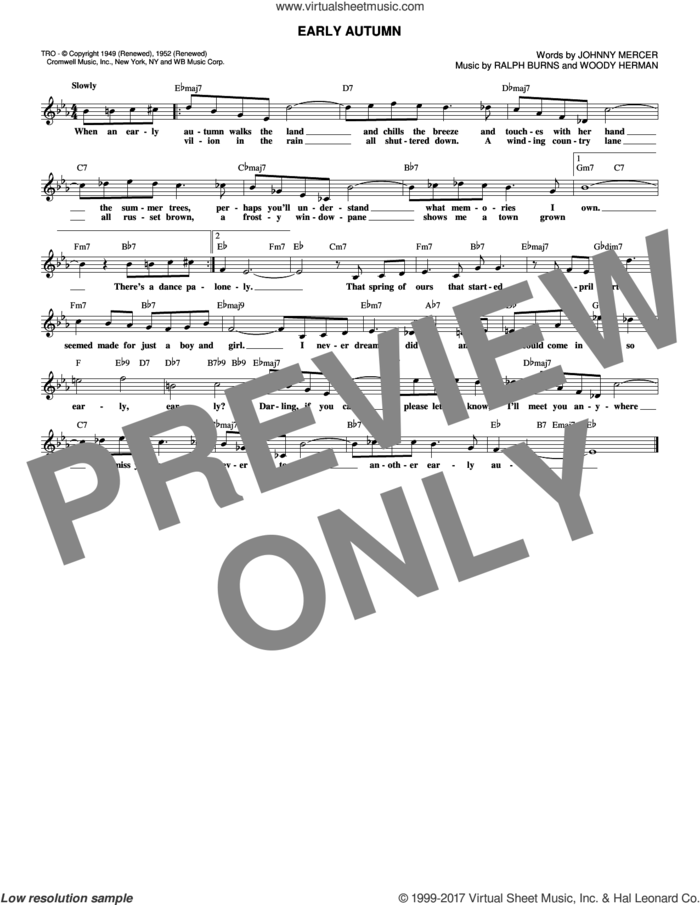 Early Autumn sheet music for voice and other instruments (fake book) by Johnny Mercer, Ralph Burns and Woody Herman, intermediate skill level