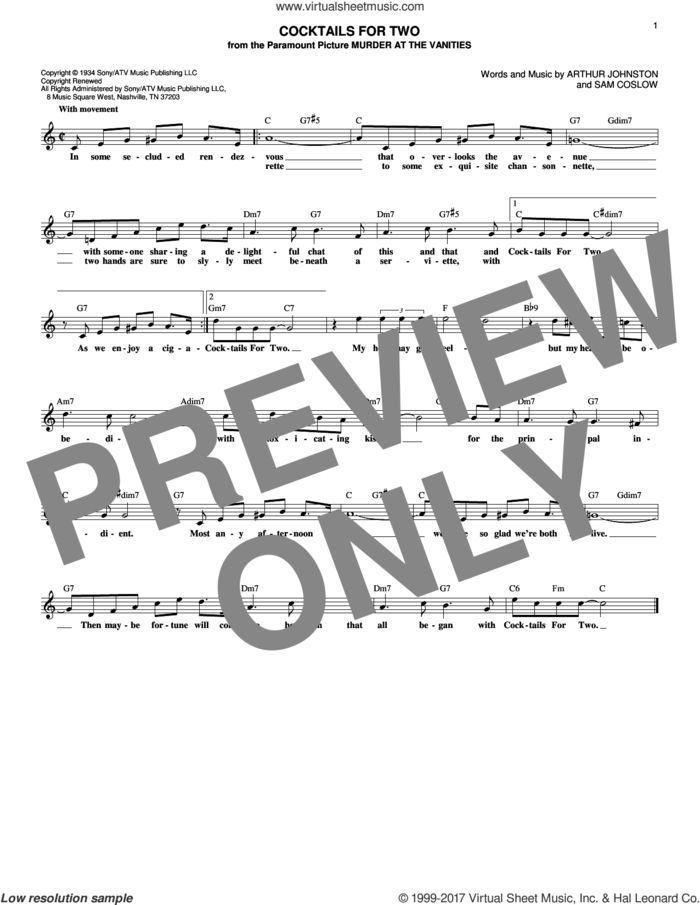 Cocktails For Two sheet music for voice and other instruments (fake book) by Arthur Johnston, Carl Brisson, Miriam Hopkins, Spike Jones & The City Slickers and Sam Coslow, intermediate skill level
