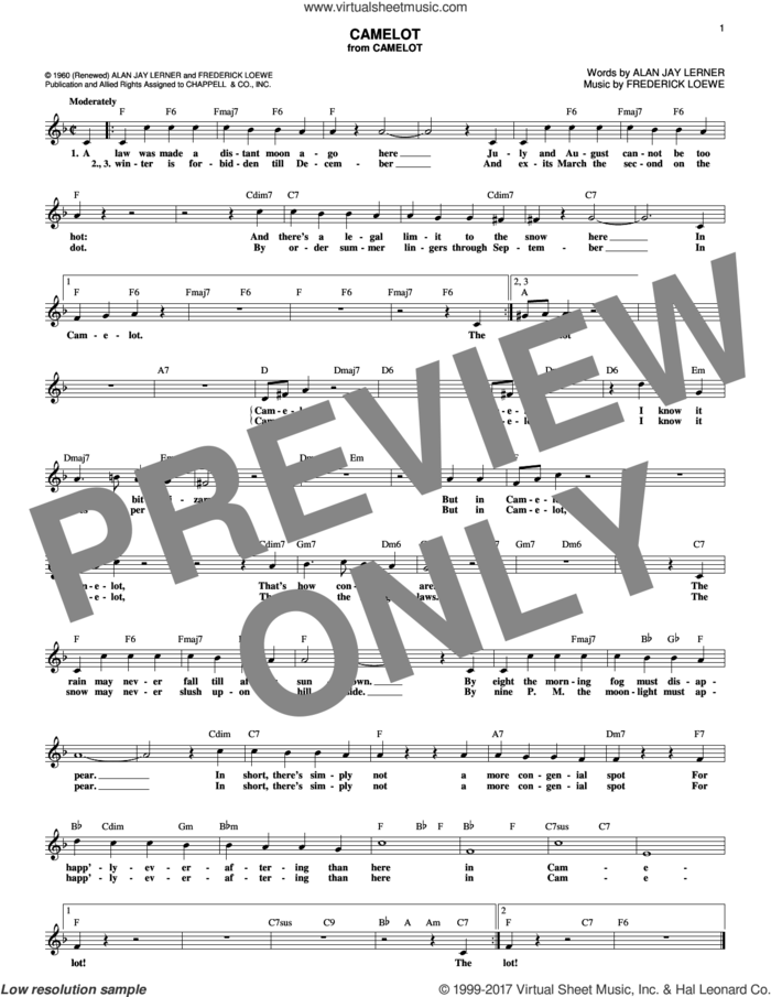 Camelot sheet music for voice and other instruments (fake book) by Alan Jay Lerner, Richard Burton, Richard Harris and Frederick Loewe, intermediate skill level