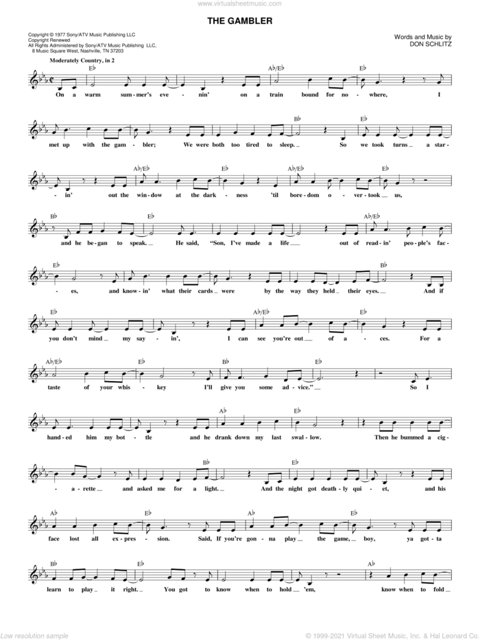 The Gambler sheet music for voice and other instruments (fake book) by Kenny Rogers and Don Schlitz, intermediate skill level