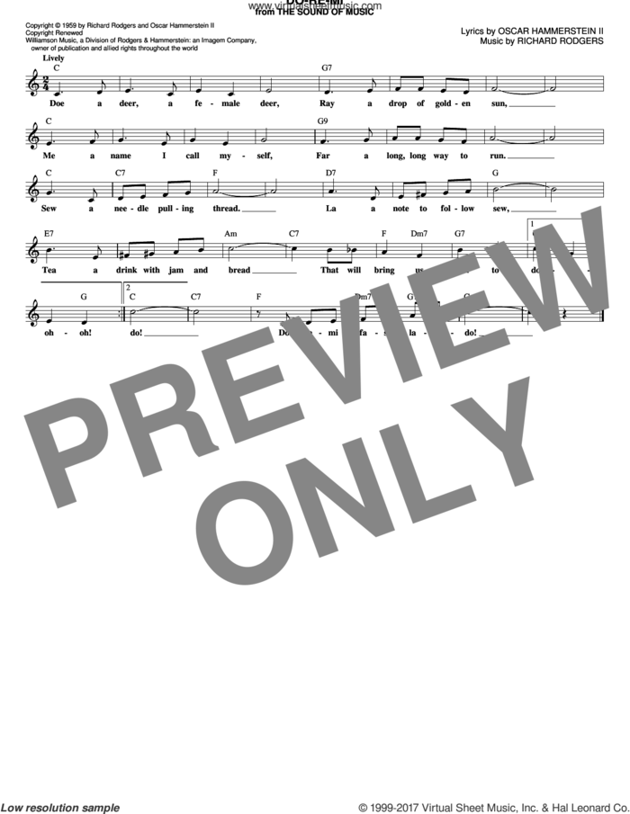 Do-Re-Mi sheet music for voice and other instruments (fake book) by Rodgers & Hammerstein, Oscar II Hammerstein and Richard Rodgers, intermediate skill level