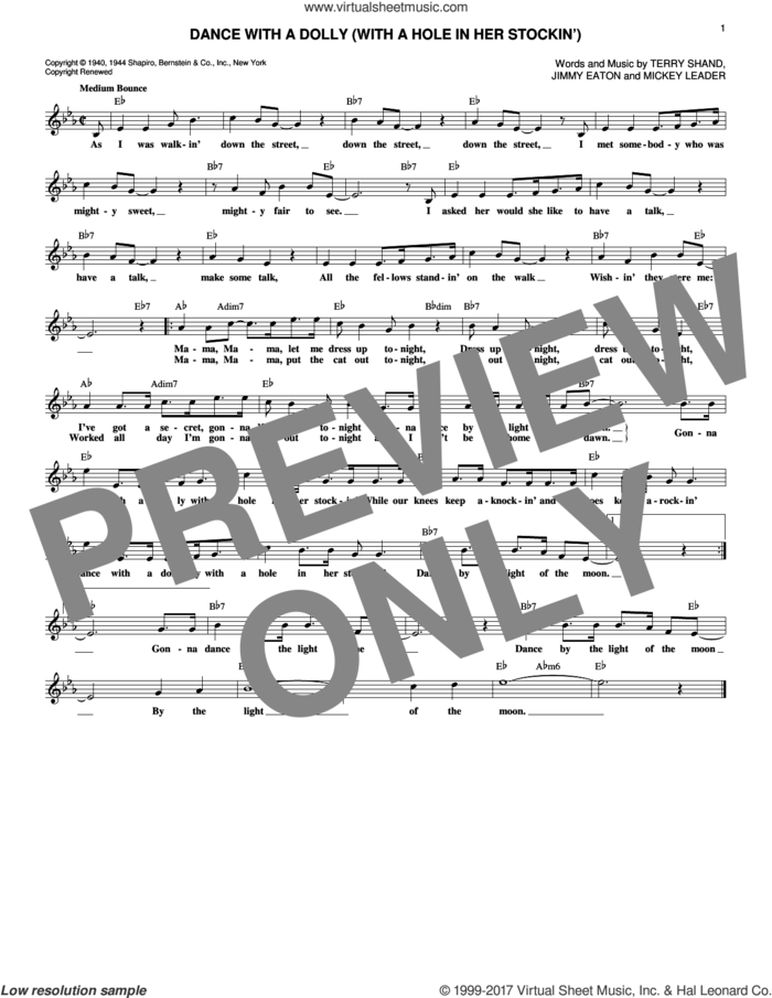 Dance With A Dolly (With A Hole In Her Stockin') sheet music for voice and other instruments (fake book) by Jimmy Eaton, Mickey Leader and Terry Shand, intermediate skill level
