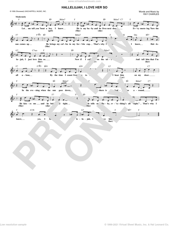 Hallelujah, I Love Her So sheet music for voice and other instruments (fake book) by Ray Charles and Peggy Lee, intermediate skill level