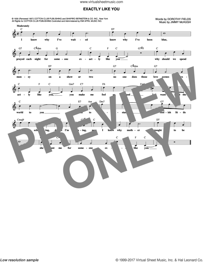 Exactly Like You sheet music for voice and other instruments (fake book) by Dorothy Fields and Jimmy McHugh, intermediate skill level
