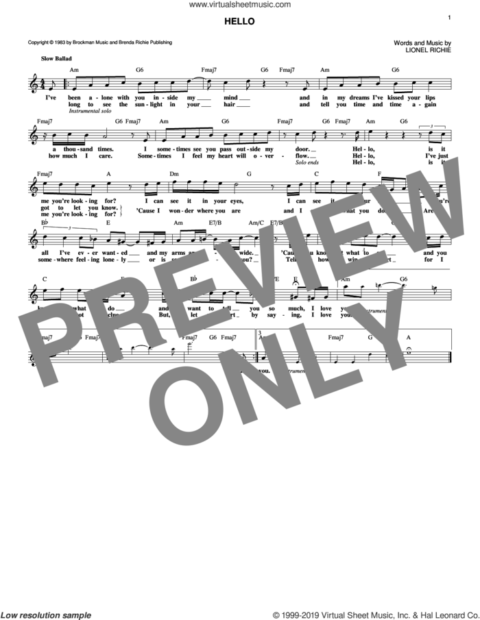 Hello sheet music for voice and other instruments (fake book) by Lionel Richie, intermediate skill level