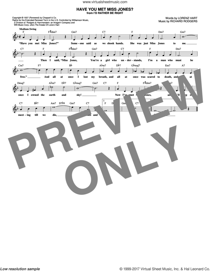 Have You Met Miss Jones? sheet music for voice and other instruments (fake book) by Rodgers & Hart, Lorenz Hart and Richard Rodgers, intermediate skill level