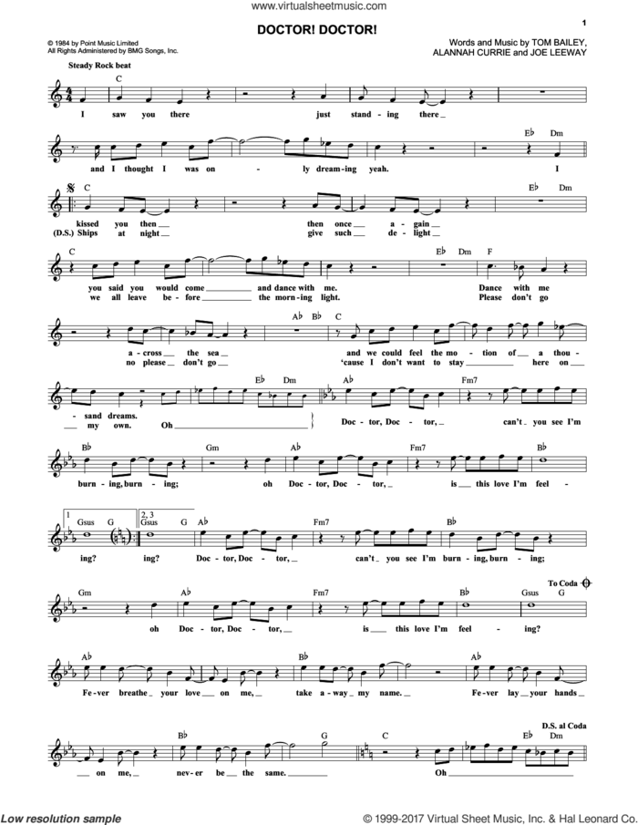 Doctor! Doctor! sheet music for voice and other instruments (fake book) by Thompson Twins, Alannah Currie, Joseph Leeway and Tom Bailey, intermediate skill level