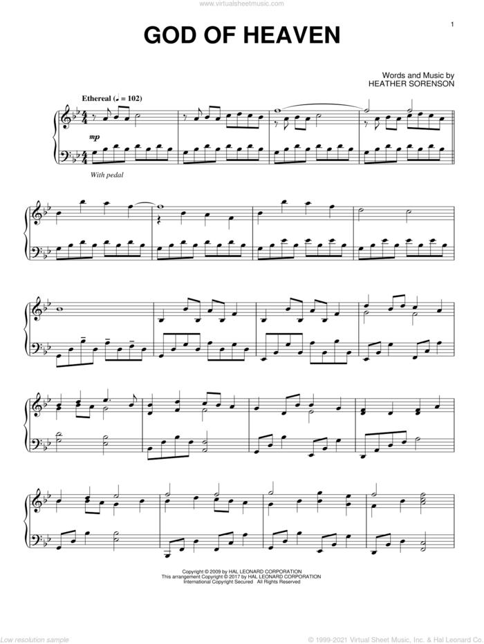 God Of Heaven sheet music for piano solo by Heather Sorenson, intermediate skill level