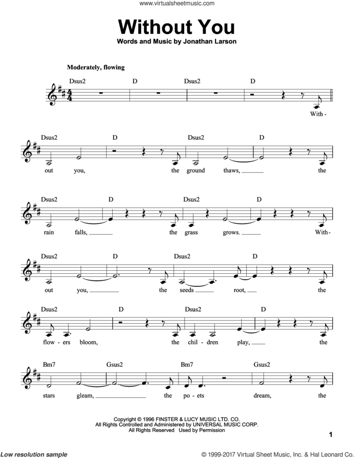 Without You sheet music for voice solo by Jonathan Larson, intermediate skill level