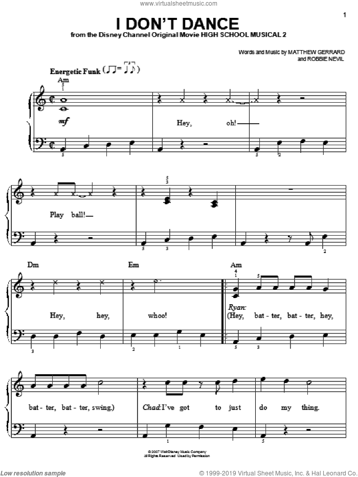 I Don't Dance sheet music for piano solo by High School Musical 2, Matthew Gerrard and Robbie Nevil, easy skill level