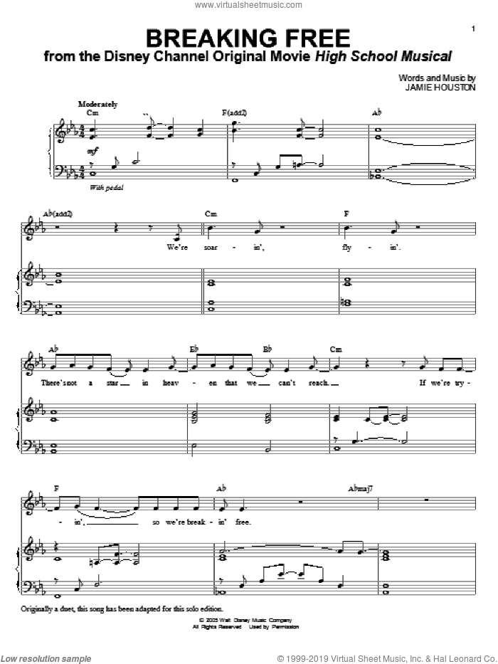 Breaking Free (from High School Musical) sheet music for voice and piano by Jamie Houston, High School Musical and Zac Efron and Vanessa Anne Hudgens, intermediate skill level